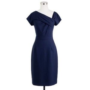 J Crew Origami Wool Crepe Dress 00P Navy Blue